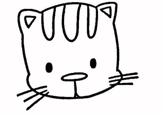 小花猫简笔画步骤2