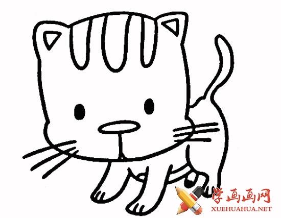 小花猫简笔画步骤4