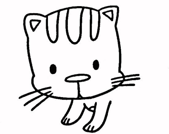小花猫简笔画步骤3
