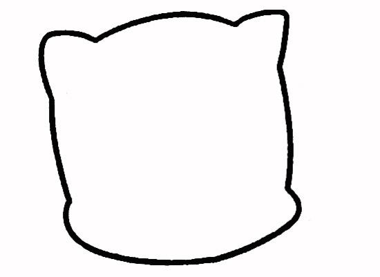 小花猫简笔画步骤1,画出小猫的头