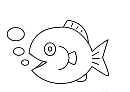 鱼儿吐泡泡简笔画图片(9)