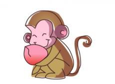 儿童简笔画,猴子吃桃简笔画教程【动画步骤】