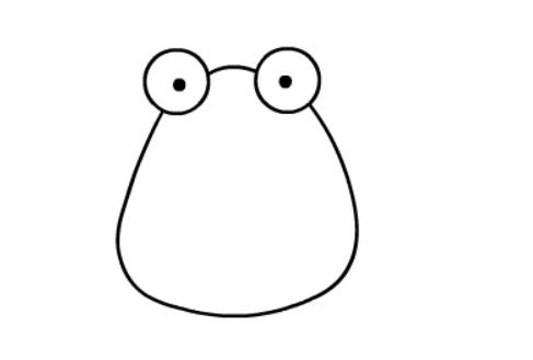 青蛙简笔画绘画步骤二