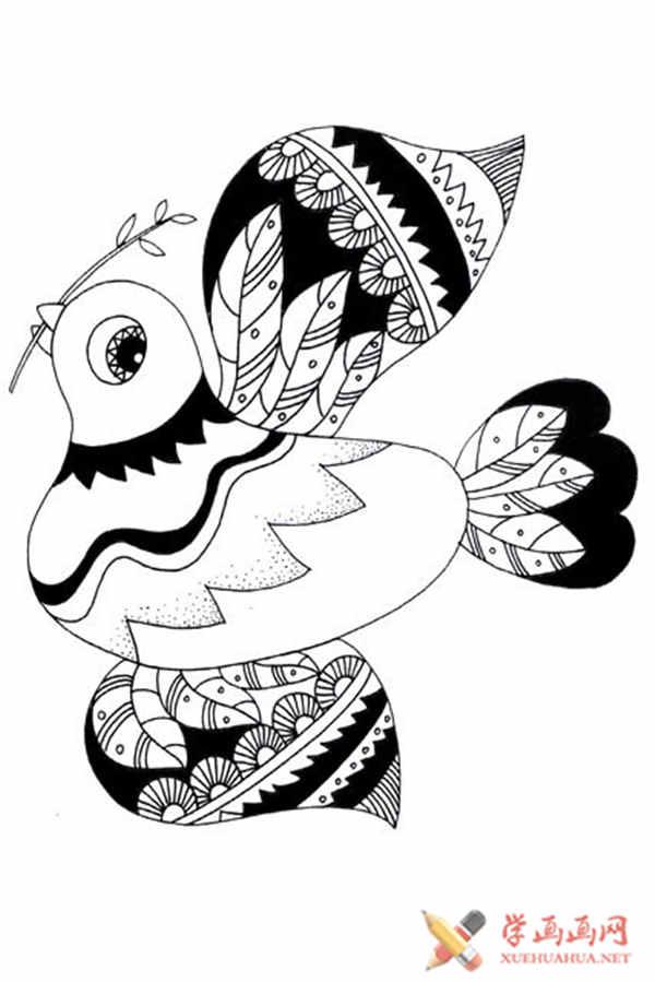 一只鸽子的简单画法,儿童简笔画飞翔的鸽子