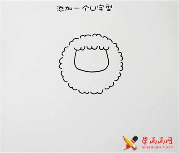 可爱简笔画教程:可爱小绵羊简笔画法(5)