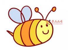 彩色的卡通蜜蜂的简笔画画法教程