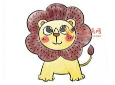 可爱的卡通小狮子的简笔画画法步骤详解