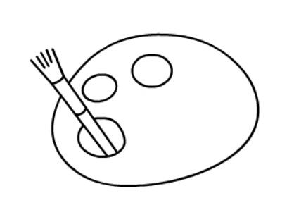 简笔画教程:调色板简笔画图片【动画步骤】