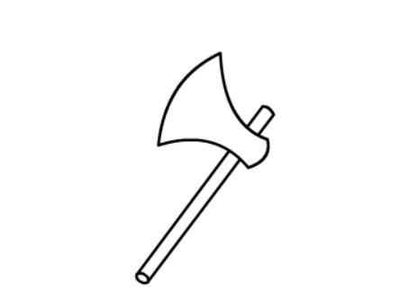 斧头简笔画绘画步骤三