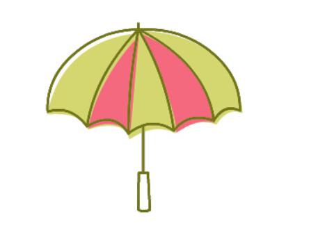 花雨伞简笔画绘画步骤四