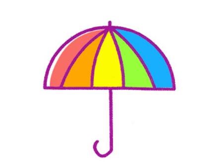 卡通画雨伞,儿童简笔画彩色雨伞