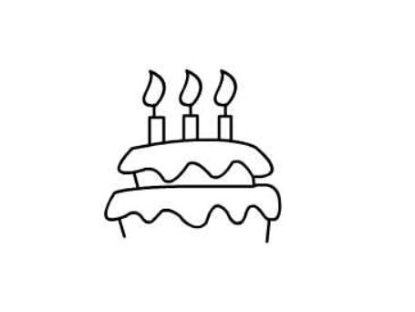 生日蛋糕简笔画绘画步骤三