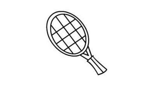 简笔画网球拍的画法,儿童画网球和网球拍