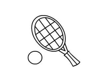 网球和网球拍简笔画绘画步骤四