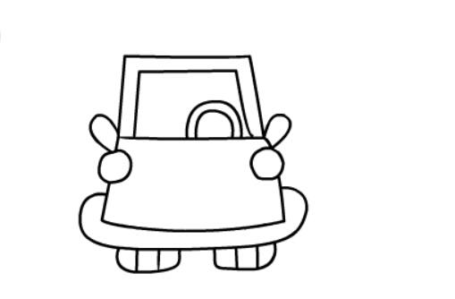 小轿车简笔画绘画步骤六