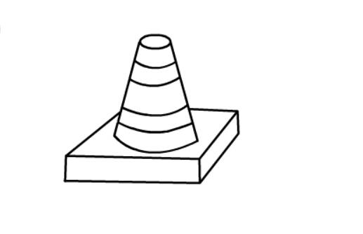 锥形交通标志简笔画绘画步骤五
