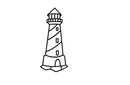 灯塔的简笔画法