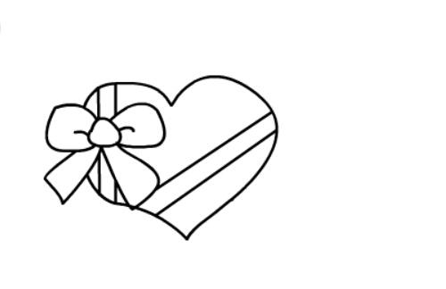 儿童画爱心礼盒的简单画法