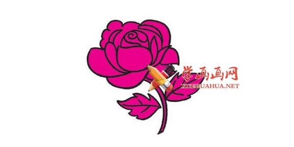 彩色玫瑰花的简笔画教程
