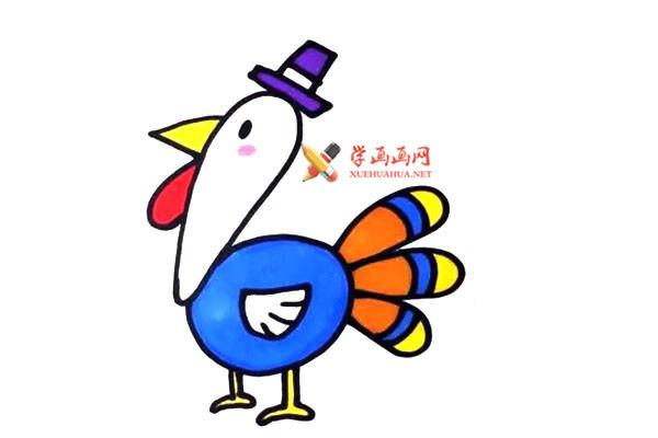 儿童简笔画:卡通火鸡的简笔画教程(4)