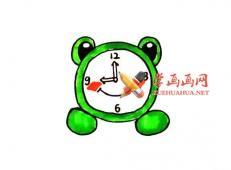 可爱的卡通青蛙闹钟的简笔画画法教程