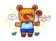 五步教你画卡通小熊的简笔画画法教程