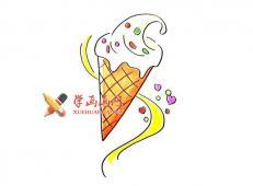 美味的奶油甜筒冰淇淋的简笔画画法教程