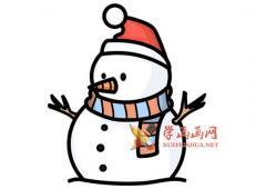 圣诞节雪人的简笔画画法解析【彩色】