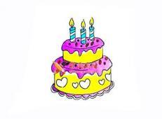 双层美味的生日蛋糕的简笔画画法教程【彩色】