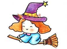 骑着扫帚的小魔女的简笔画画法教程【彩色】
