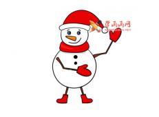 漂亮的卡通雪人的简笔画【彩色】