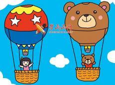 热气球的儿童简笔画画法详解