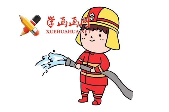 简单的步骤教你画消防员的简笔画【彩色】