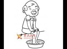 在洗脚的爷爷的简笔画画法图片
