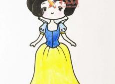 如何画美丽的白雪公主的简笔画