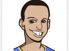 NBA球星库里简笔画图片教程