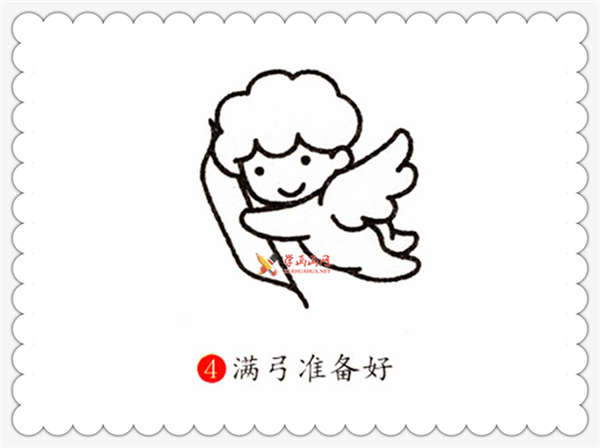 小天使爱神丘比特简笔画步骤