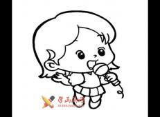 唱歌的小女孩的简笔画画法素材图片