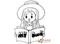一组看书的小女孩的简笔画素材