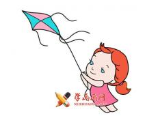 放风筝的小女孩的简笔画图片