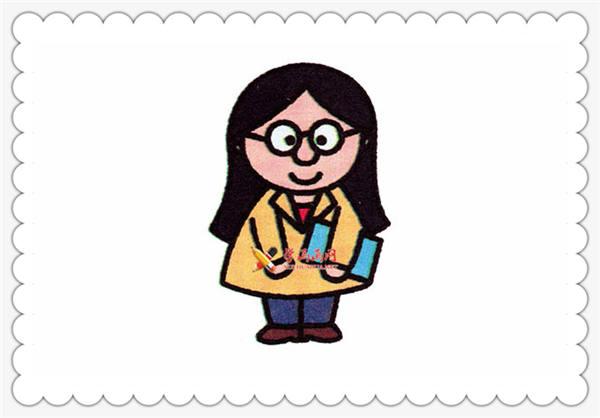 教师节简笔画:女老师的简笔画步骤图片