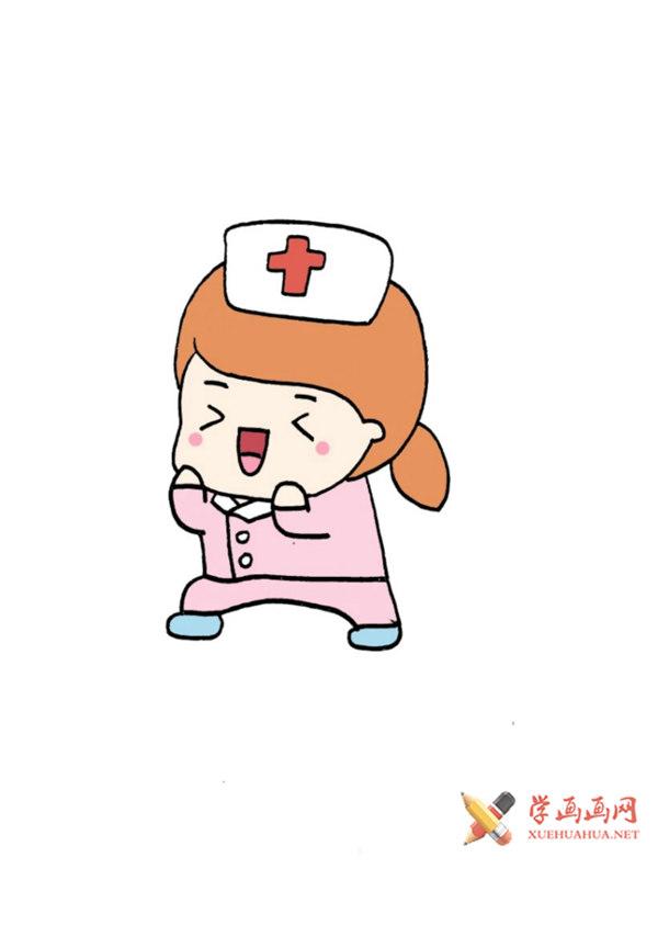 儿童学画画:武汉加油抗疫的卡通护士简笔画画法