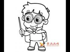 装扮魔法师的小男孩的简笔画画法图片