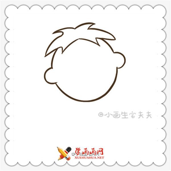简笔画旺仔的画法(5)