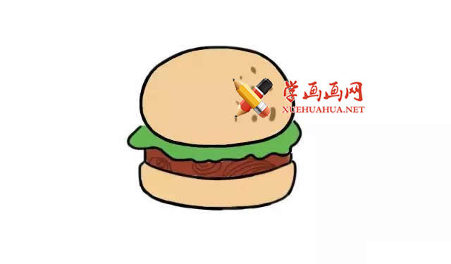 美味的汉堡的简笔画教程