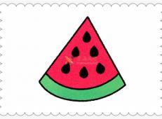 简笔画1片西瓜的画法