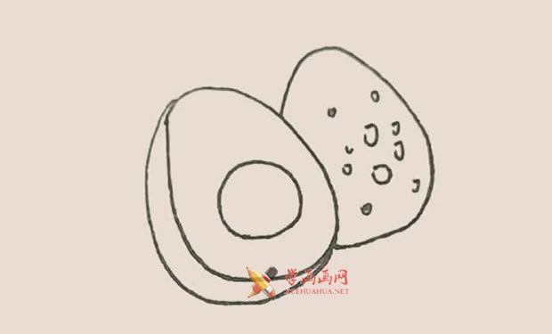 营养丰富的牛油果的简笔画教程【彩色】(4)