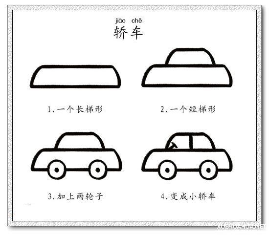 如何画小轿车 小轿车简笔画