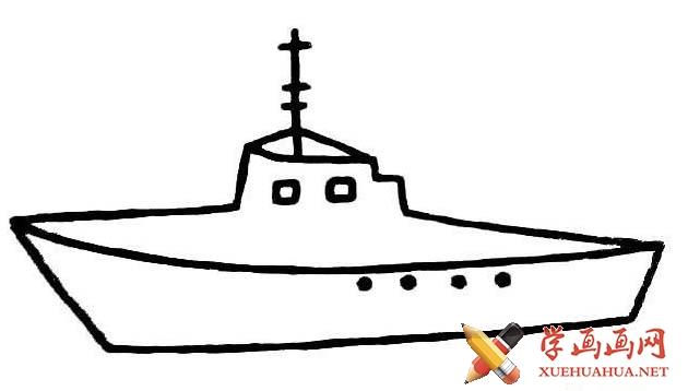 轮船军舰简笔画图片大全