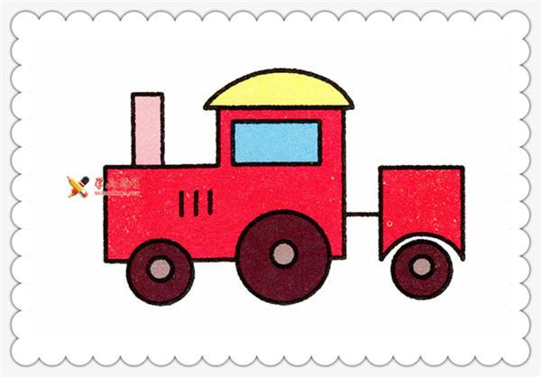 儿童画教程:蒸汽火车的简笔画画法(7)